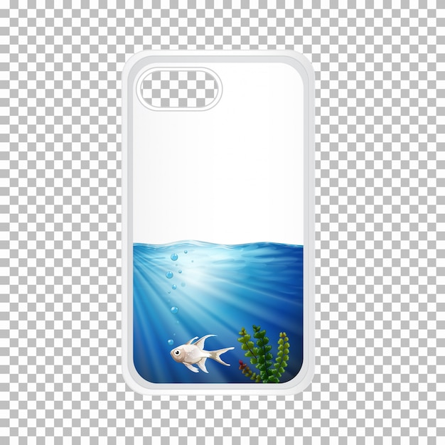Telephone case with fish under the ocean Free Vector