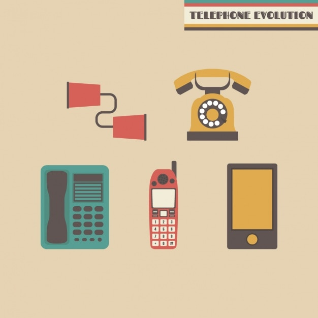 Telephone evolution design Free Vector
