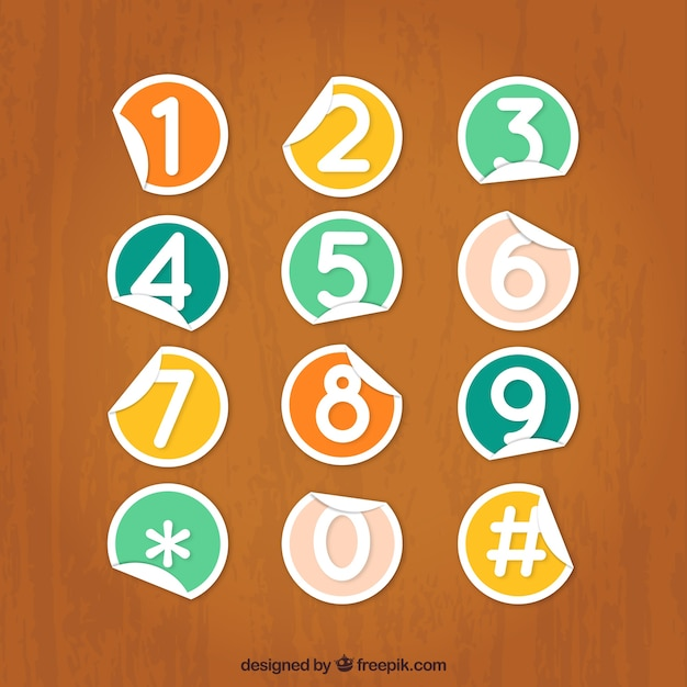 Telephone keypad numbers in sticker style Free Vector