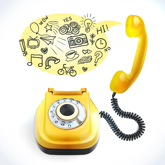 Telephone old doodle Free Vector