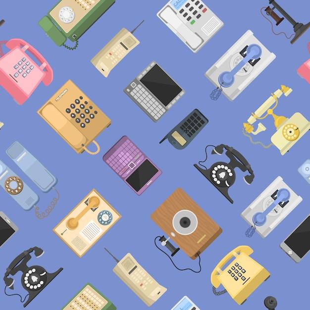 전화 아이콘 Sealess 패턴 절연 프리미엄 벡터