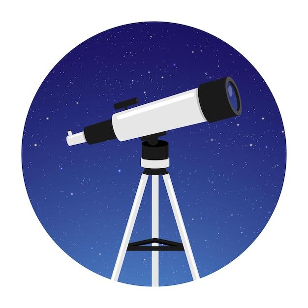 Телескоп для астрономии с круглым ночным небом Premium векторы