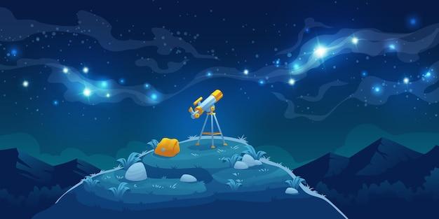 Телескоп для научных открытий, наблюдения за звездами и планетами в космическом пространстве Бесплатные векторы