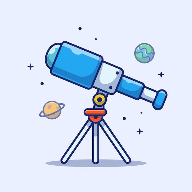 Значок телескопа. телескоп, планета, звезды и земля, космический значок белый изолированный Premium векторы