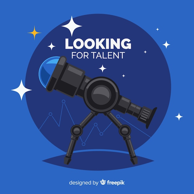 Telescope looking talent background Free Vector