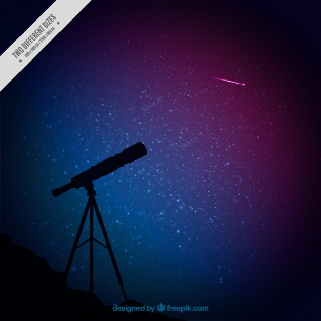 Telescope silhouette and starry sky background Free Vector