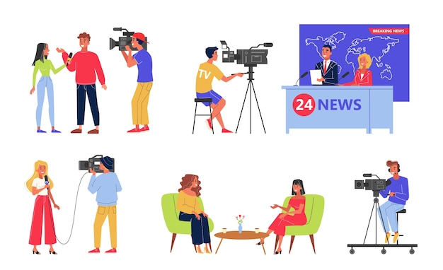 Television industry set. newscaster and journalist profession Premium Vector