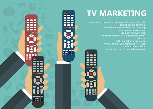Television marketing concept Free Vector