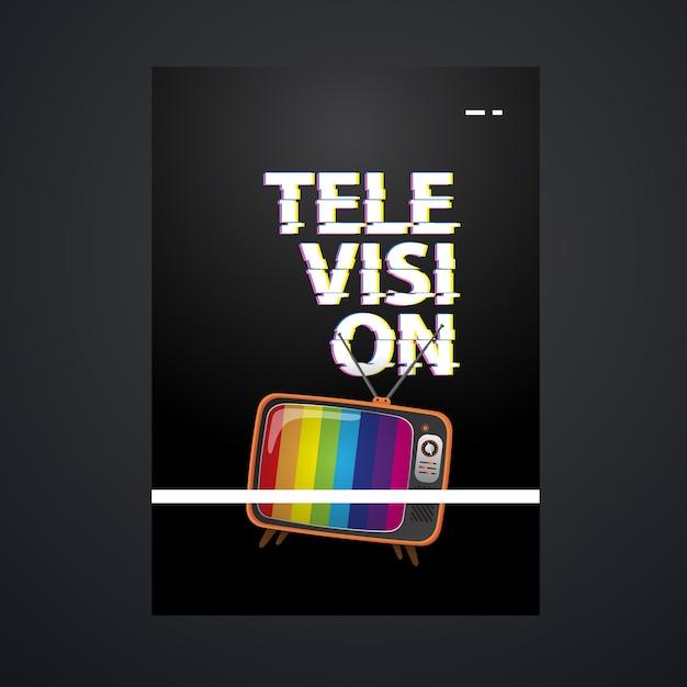 Шаблон телевизионного плаката с винтажной телевизионной иллюстрацией Premium векторы
