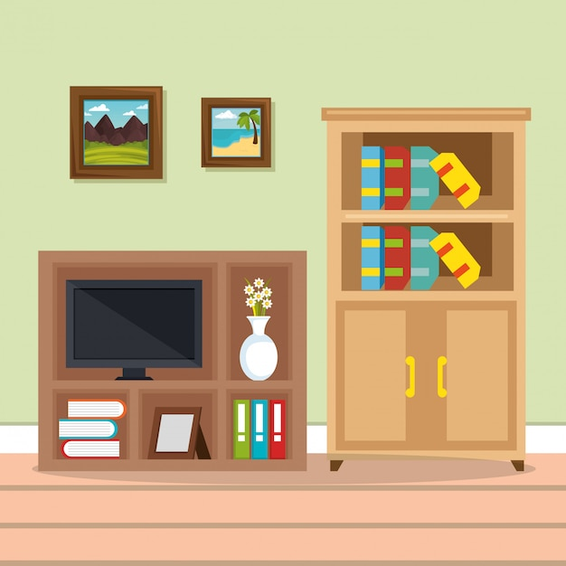 Television room place house Free Vector