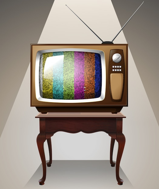 Television on the table Free Vector
