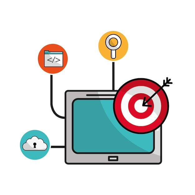 Television With Arrow Target And Icons Service Vector