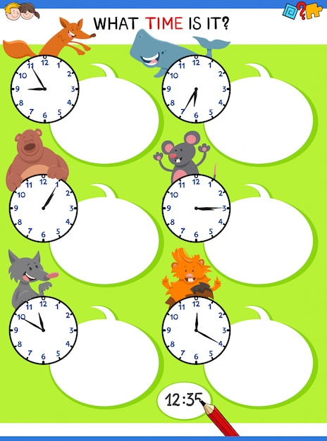 Telling time educational activity with animals Premium Vector