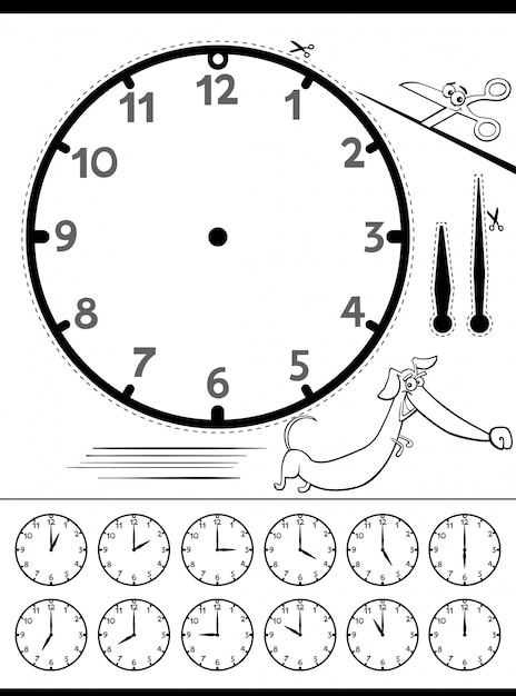 Telling time educational page for children Premium Vector