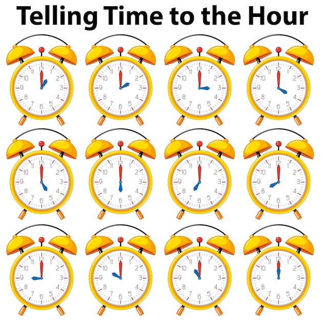 Telling time to the hour on yellow clock Free Vector