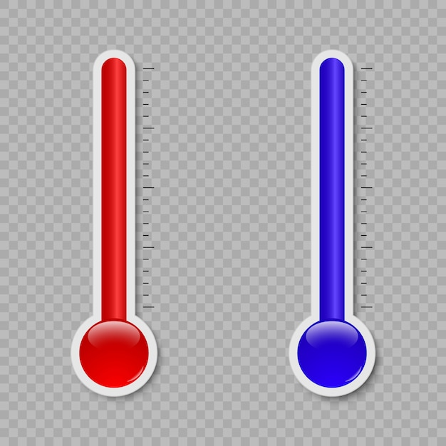 Temperature thermometer measuring heat and cold isolated on white background Premium Vector