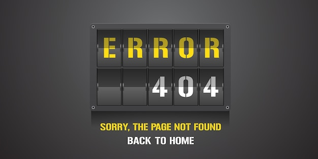 Template 404 error page, banner with not found message. mistake warning background for web page error 404 concept creative design element Premium Vector