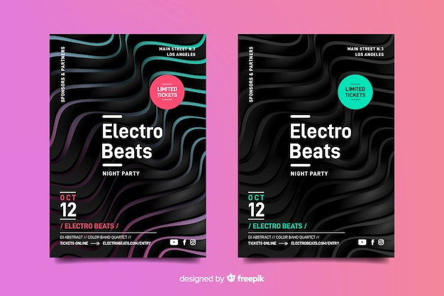 Template abstract 3d effect electronic music poster Free Vector