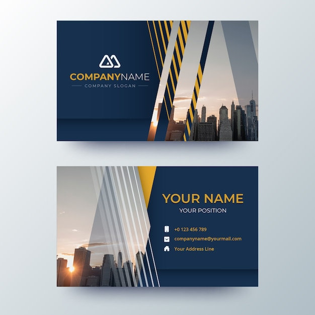 Template abstract business card with image Free Vector