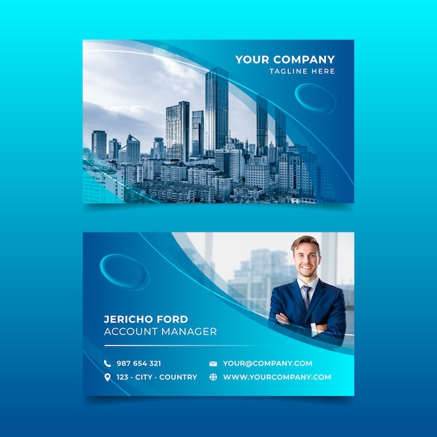 Template abstract business card with photo Free Vector