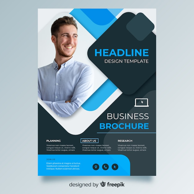 Template abstract business flyer with image Free Vector