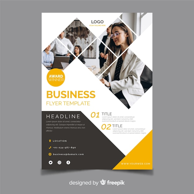 Template abstract business flyer with photo Free Vector