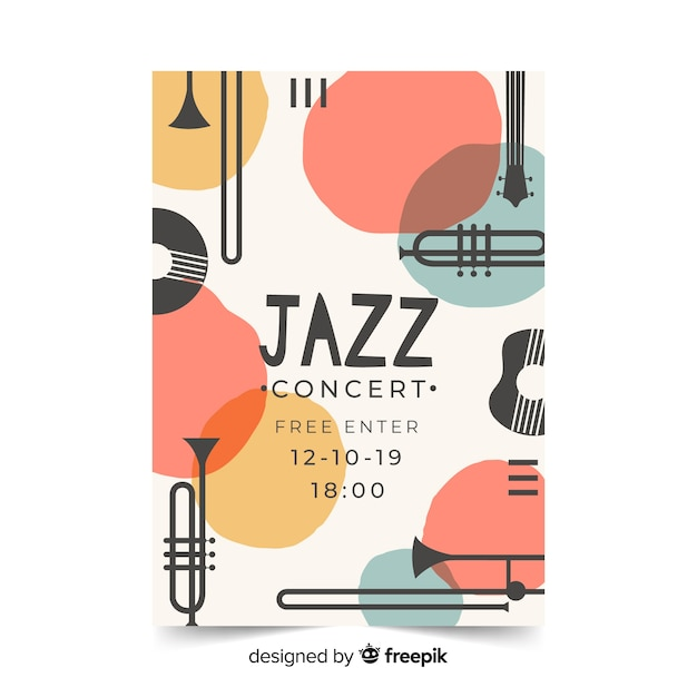 Template abstract hand drawn jazz poster Free Vector