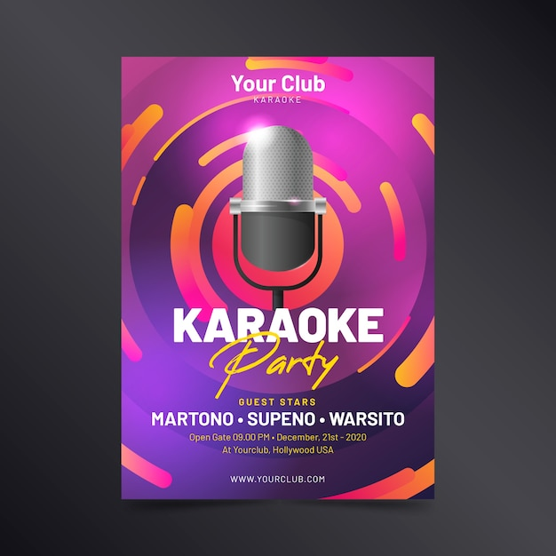 Template abstract karaoke poster Free Vector