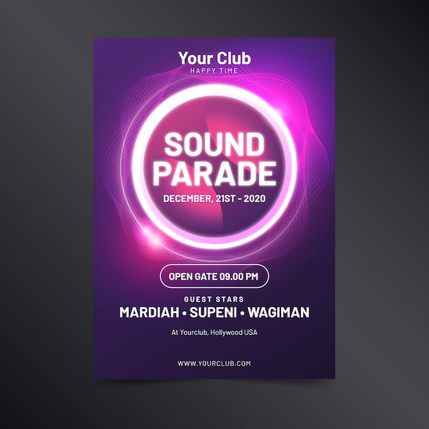 Template abstract light effect music poster Free Vector