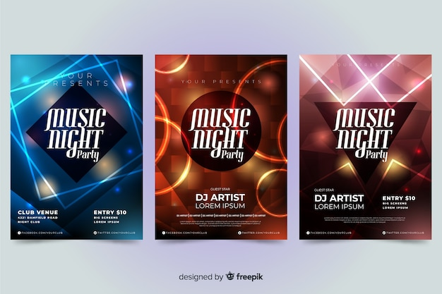 Template abstract music poster with light effect Free Vector