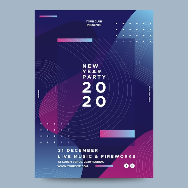 Template abstract new year party flyer Free Vector