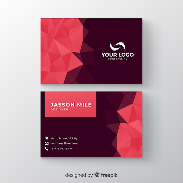 Template abstract polygonal business card Free Vector