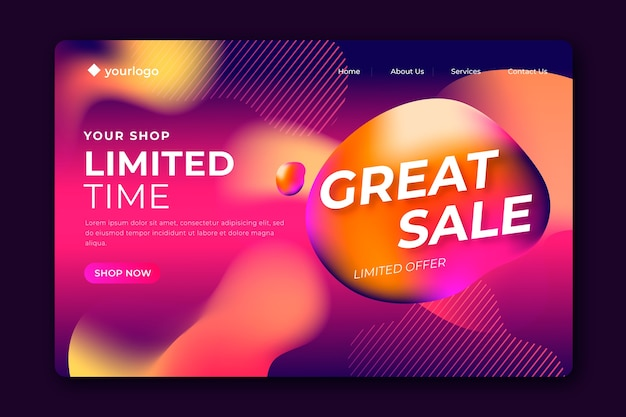 Template abstract sales landing page Free Vector