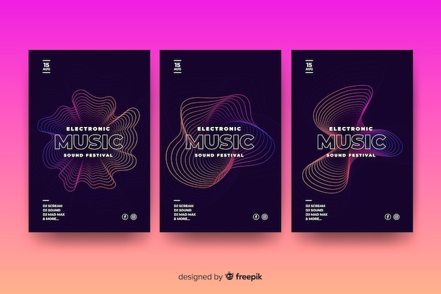 Template abstract wave music poster Free Vector