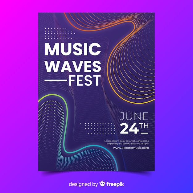 Template abstract waves music poster Free Vector