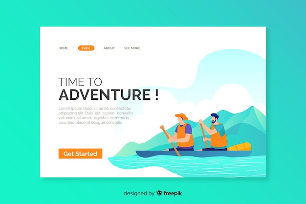 Template of adventure landing page Free Vector
