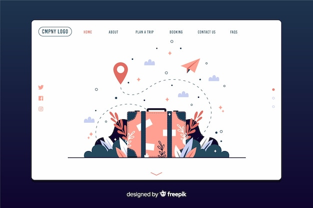 Template adventure landing page Free Vector
