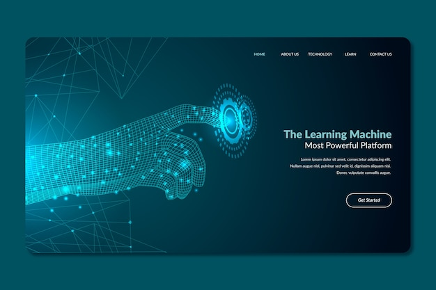 Template artificial intelligence landing page Free Vector
