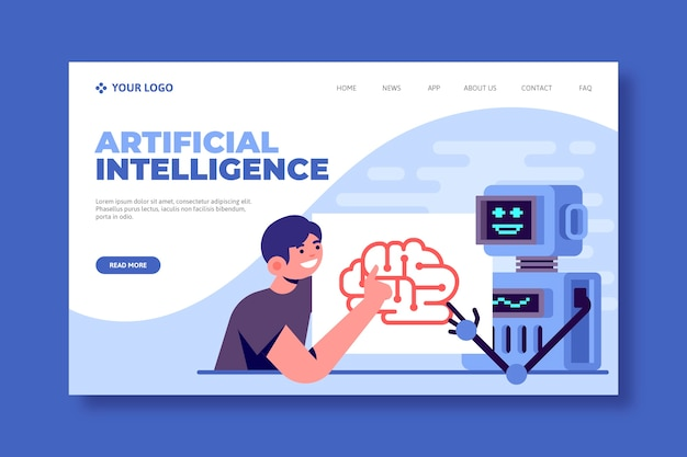 Template for artificial intelligence landing page Free Vector