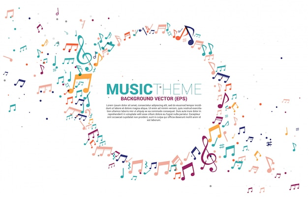 Template banner and poster colorful music melody note dancing flow Premium Vector
