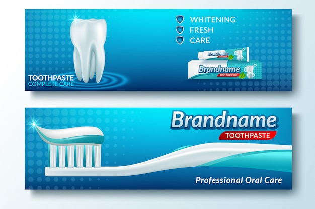 Template of banner tooth and dental service Premium Vector