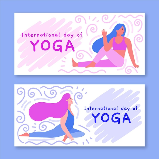 Template for banners with international day of yoga Free Vector