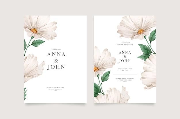 Template big flower wedding invitation Free Vector