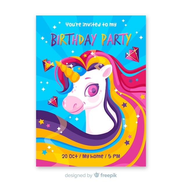 Template birthday invitation for children Free Vector