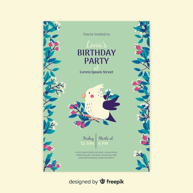 Template birthday invitation floral Free Vector