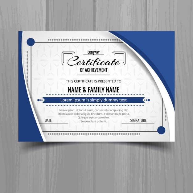 Template of blue wavy certificate Free Vector