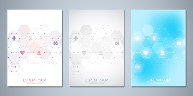 Template brochure or cover , book, flyer, with medical icons and symbols. healthcare, science and medicine technology concept. Premium Vector