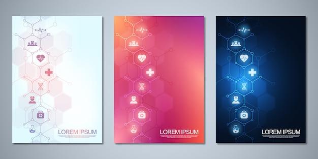 Брошюра или обложка шаблона, книга, флаер, с медицинскими значками и символами. концепция технологии здравоохранения, науки и медицины. Premium векторы