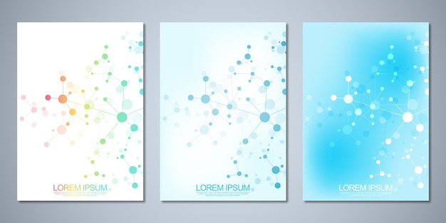 Template brochures or cover , book, flyer, with molecules background and neural network. Premium Vector