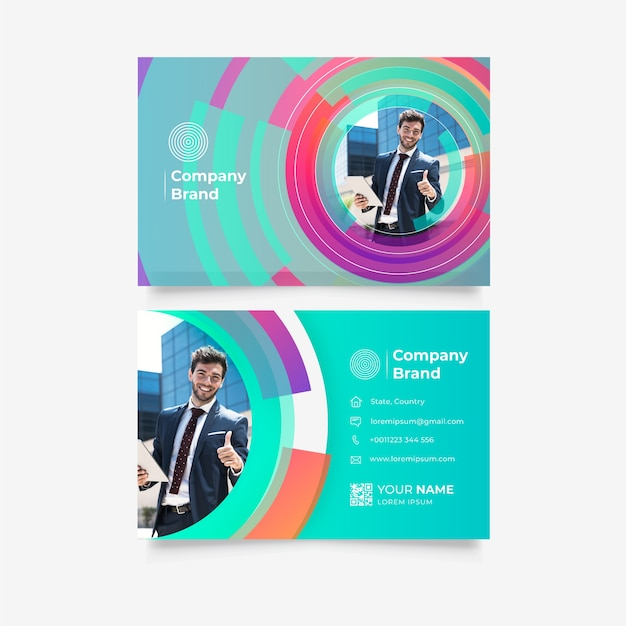 Template for business card with circles Free Vector